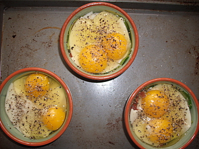 ...a couple of eggs each, salt and peppered...